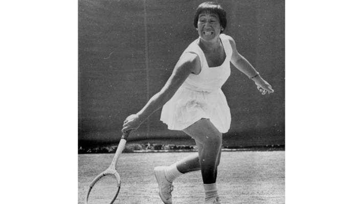 Ruia Morrison-Davy in action at a tournament in Auckland in 1970.