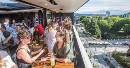 Virginia Lynskey, left, and Sinead Meehan at Mr Brightside rooftop bar in central Christchurch's Oxford Tce.