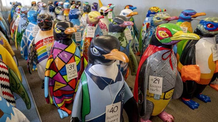 120 individually designed penguin sculptures have decorated Canterbury streets since they were unveiled in December.