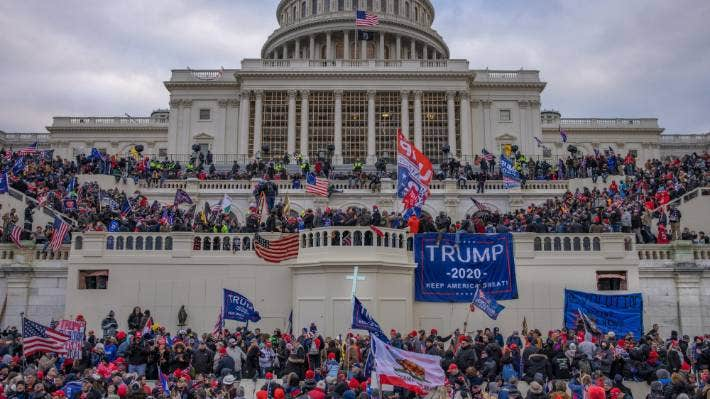 Supporters of former US President Donald Trump mob the Capitol on January 6.