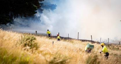Firefighters at the scene of a fire in Christchurch's Port Hills.