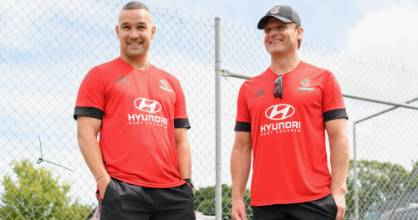 New Crusaders assistant coach Tamati Ellison, left, and head coach Scott Robertson at English Park in Christchurch this week.