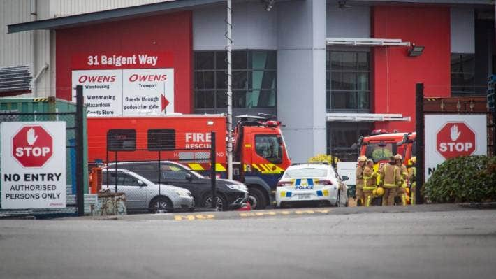 Five people have been injured after a chemical spill caused by a forklift truck puncturing a container of nitric acid at Owens Transport in Christchurch.