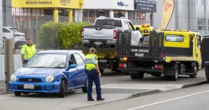 This stolen subaru crashed into a ute and truck along Tremaine Ave, before its driver fled the scene on Thursday morning.