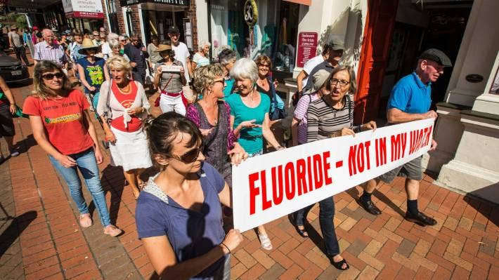 A protest against water fluoridation in Nelson on World Water Day in 2017.
