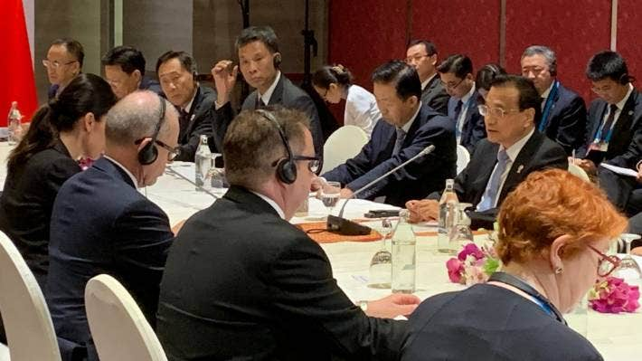 Prime Minister Jacinda Ardern met with Chinese Premier Li Keqiang at the East Asia Summit in Bangkok in 2019, where the conclusion of three years of negotiations over the upgrade to the NZ-China free trade agreement was announced.