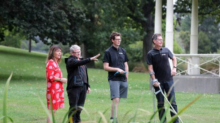 Looking for a good spot to place the screen for Movies in the Gardens are, from left, Di Hay, Chris Thomas, Malvin and Richard Howey.