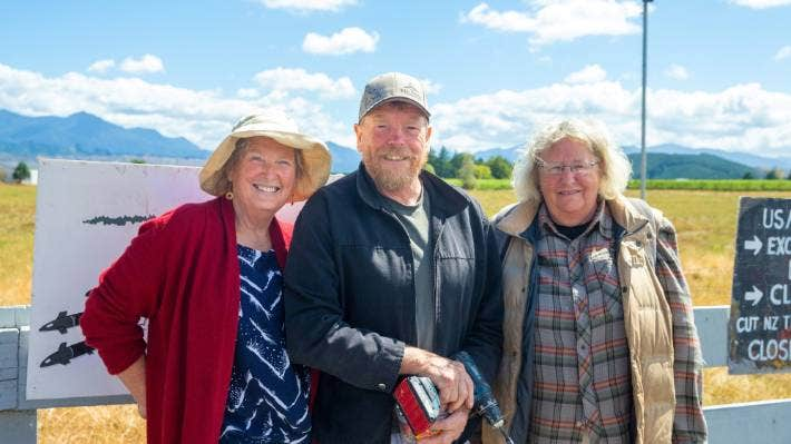 Waihopai Valley Spy Base protestors, from left, Pam Hughes, Ron Currie and Robin Dann.
