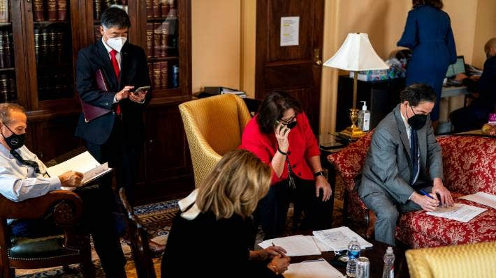 House managers work on speech details before the second day of Trump's impeachment trial.