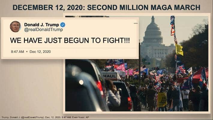 """The slide shows a photo of President Trump's motorcade driving by a group of his supporters participating in a rally in Washington on Nov. 14, 2020, juxtaposed with a tweet from Trump on December 12, 2020, declaring the """"fight"""" had just begun."""
