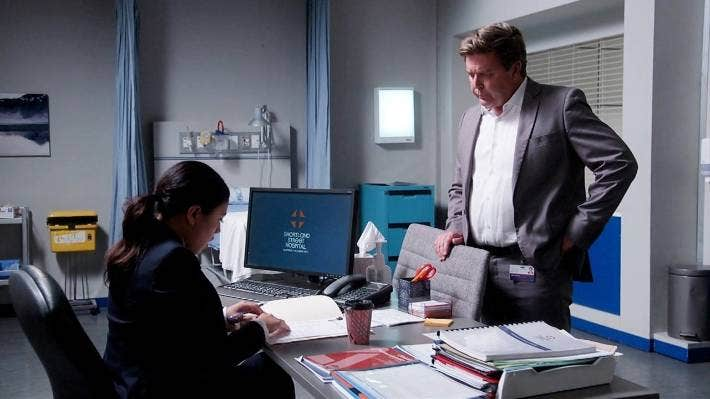 Shortland Street's Esther (Ngahuia Piripi) and Chris (Michael Galvin). The show is one of New Zealand's most popular and longest-running primetime soaps.