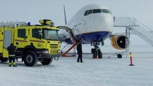 'A runway on the blue ice': An Icelandair 767 takes off from Antarctica