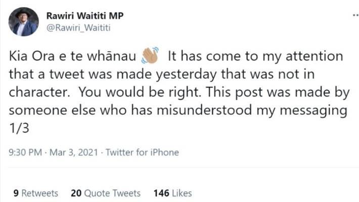 A tweet by Maori Party co-leader Rawiri Waititi explaining a previous tweet.