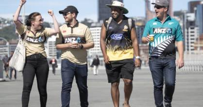 From left, Laurel Smith, Rory McKenzie, Sahir Hussain and Byron Terris were ready for a bumper afternoon of ...