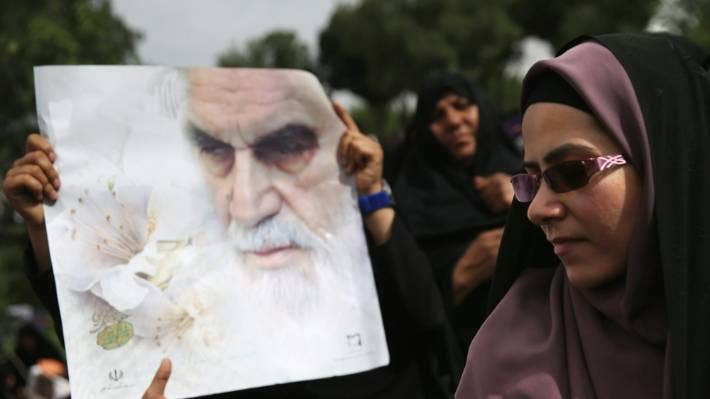 Thousands of people gather at the shrine to the Ayatollah Khomeini on the 25th anniversary of his death on June 4, 2014.