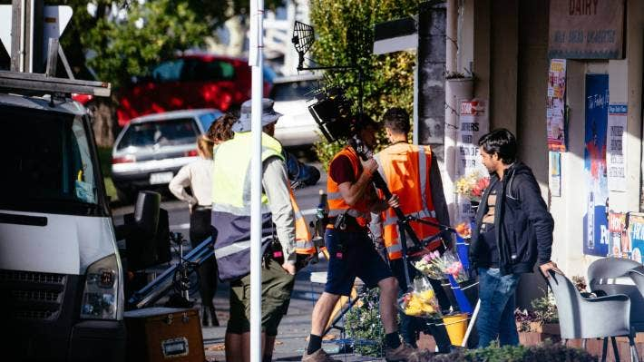 Crews filming last year in Devonport, Auckland, for 'Black Hands'.