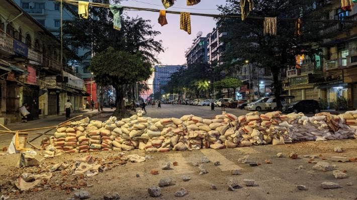 Movement in the streets of central Yangon have been restricted.