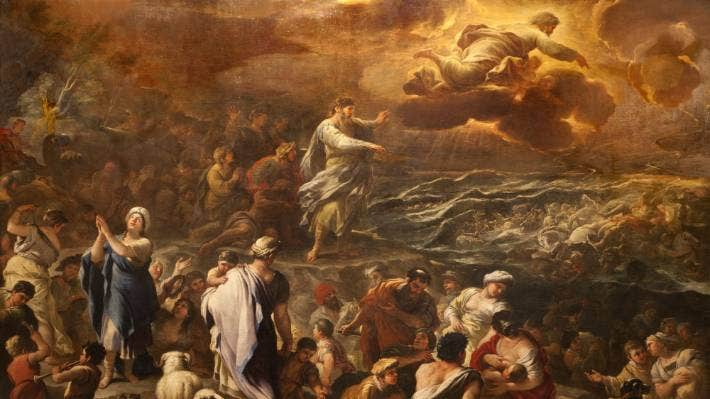 Moses parts the Red Sea. God has previous form in this area when it comes to unexpected natural phenomena.