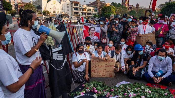 People attend a prayer meeting for Mya Thwe Thwe Khaing, who was shot during protests in Nay Pyi Taw, on February 14, 2021 in Yangon, Myanmar.