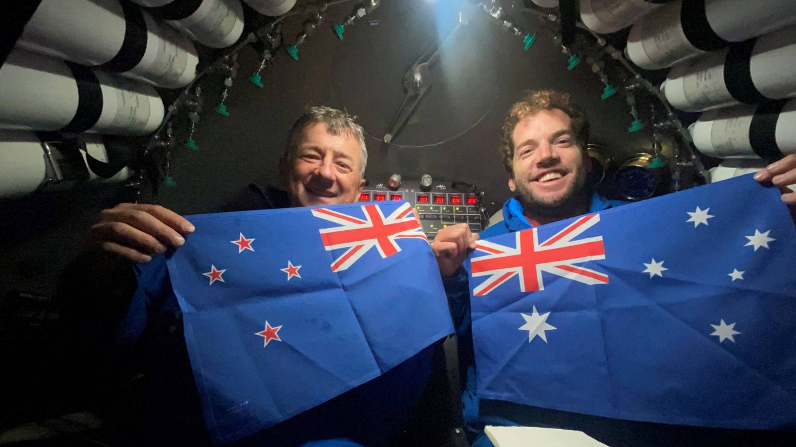 Kiwi and Aussie make history in the Mariana Trench with a Vegemite sandwich