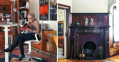 Film and TV producer Robin Scholes in her home office, part of a character villa with wood panelling and original fireplaces.