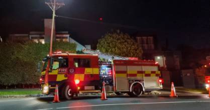 A fire truck outside the Upland Rd, Remuera property on Thursday evening.