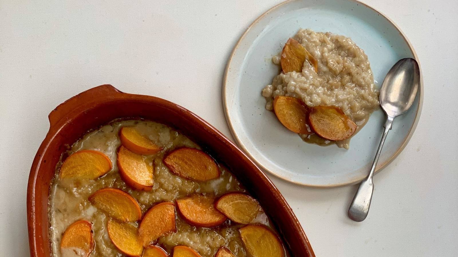 How to make coconut rice pudding with caramelised persimmon