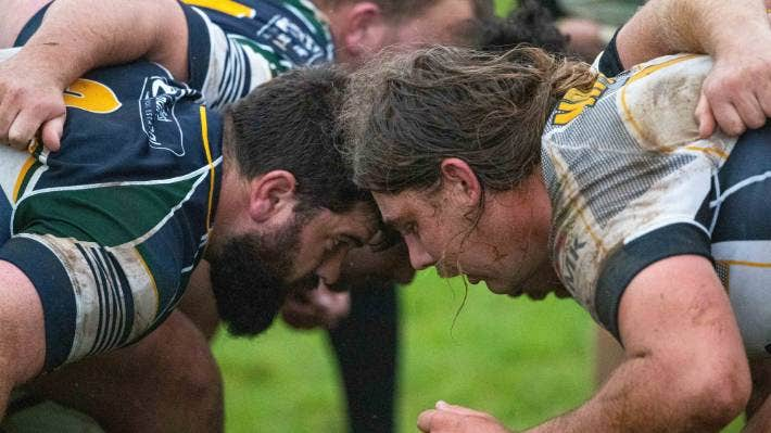 Robert Northcott, left, and Deken Roberts in the scrum during NPOB v Southern.