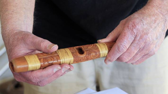 Dr Richard Nunns holding a pūtōrino (flute/trumpet) worked with a team to bring old Māori sounds to a generation who thought it was lost forever.