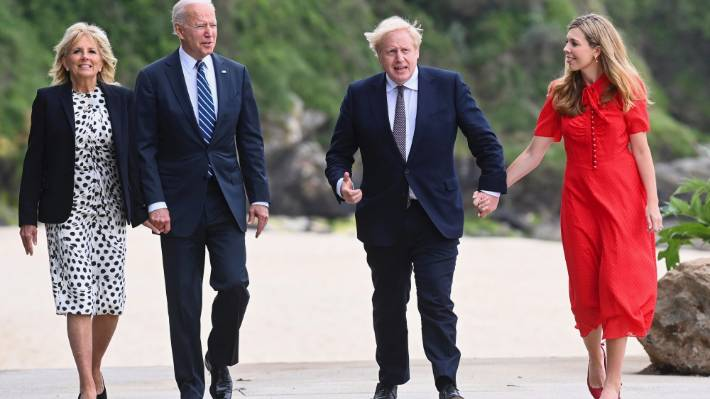 Joe Biden and Boris Johnson – pictured with their wives Jill Biden and Carrie Johnson – have held productive talks ahead of the G7 summit.