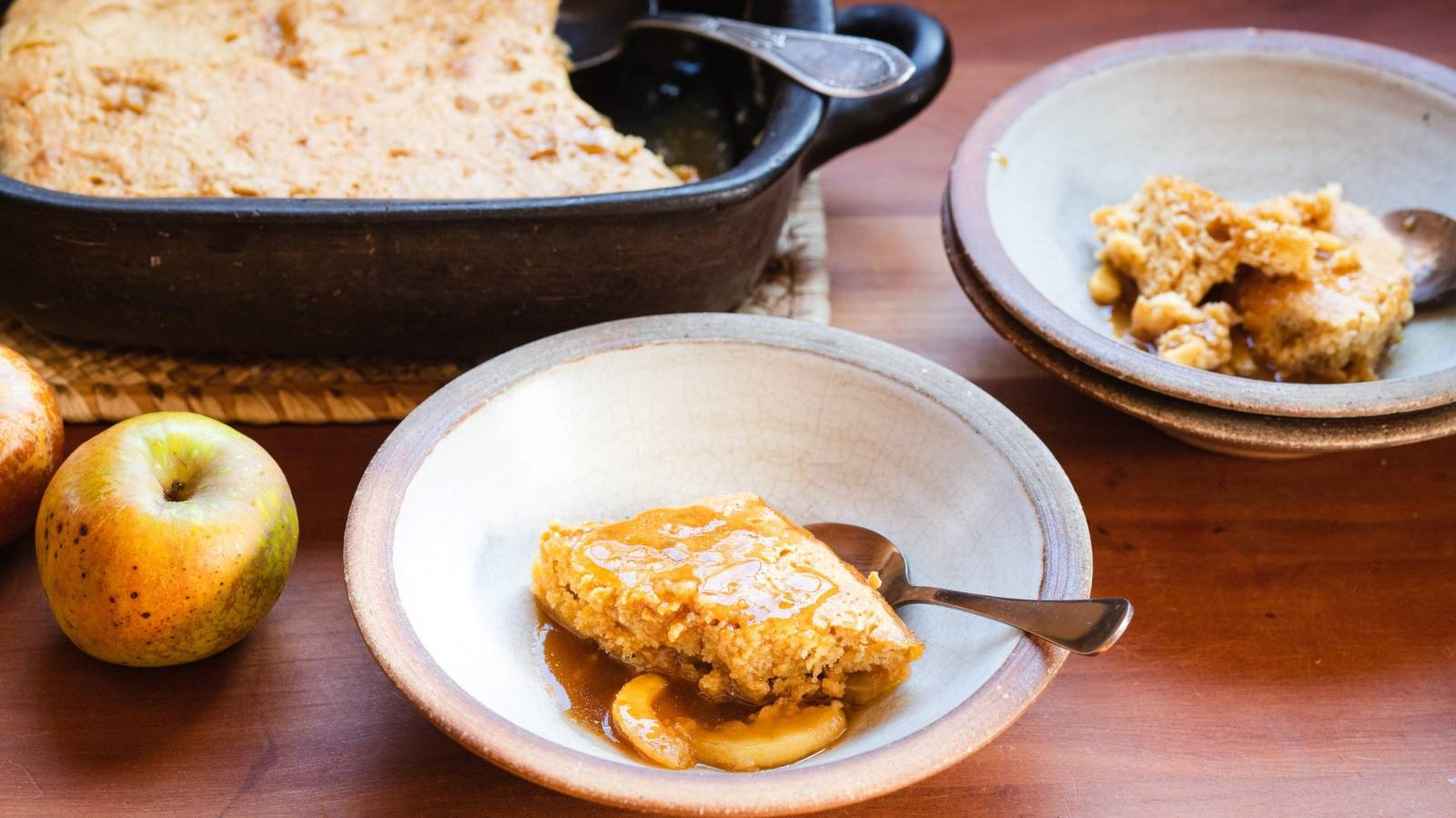 Butterscotch and apple self-saucing pudding