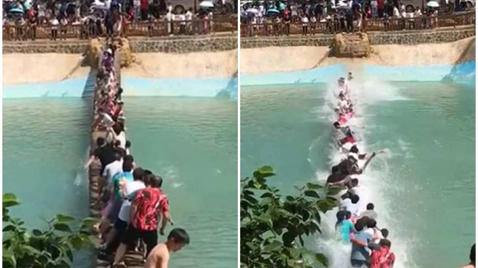 Swinging bridge breaks plunging tourists into lake in China