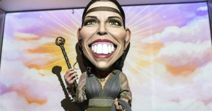 """Prime Minister Jacinda Ardern says her effigy """" is a cross between a celestial being and something from Game of Thrones""""."""