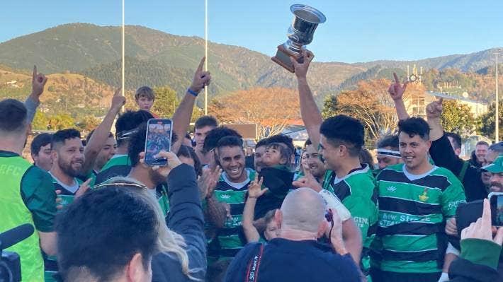 Marist celebrates winning the Stuff Tasman Trophy after edging Kahurangi 20-18 in a tense club rugby final at Trafalgar Park on Saturday.