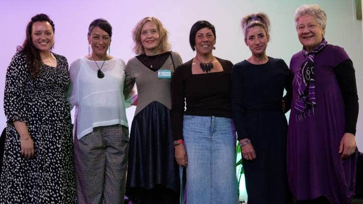 Presenters and organisers of the Trauma-informed Care National Training Day. From left Mekenna Cipres, Mirror Services; Anah Aikman, South Canterbury DHB; Dr Bronwyn Dunnachie, Werry Workforce Whāraurau; Dr Moana Eruera, Oranga Tamariki; Michelle Baughan, Mirror Services and Associate Professor Nicola Atwool of Otago University.