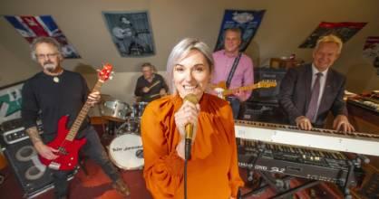 Bin-jammin band members meet up in their lunch break in Invercargill, from left, Chris Chilton, Warren Parker, Jo Ward, ...