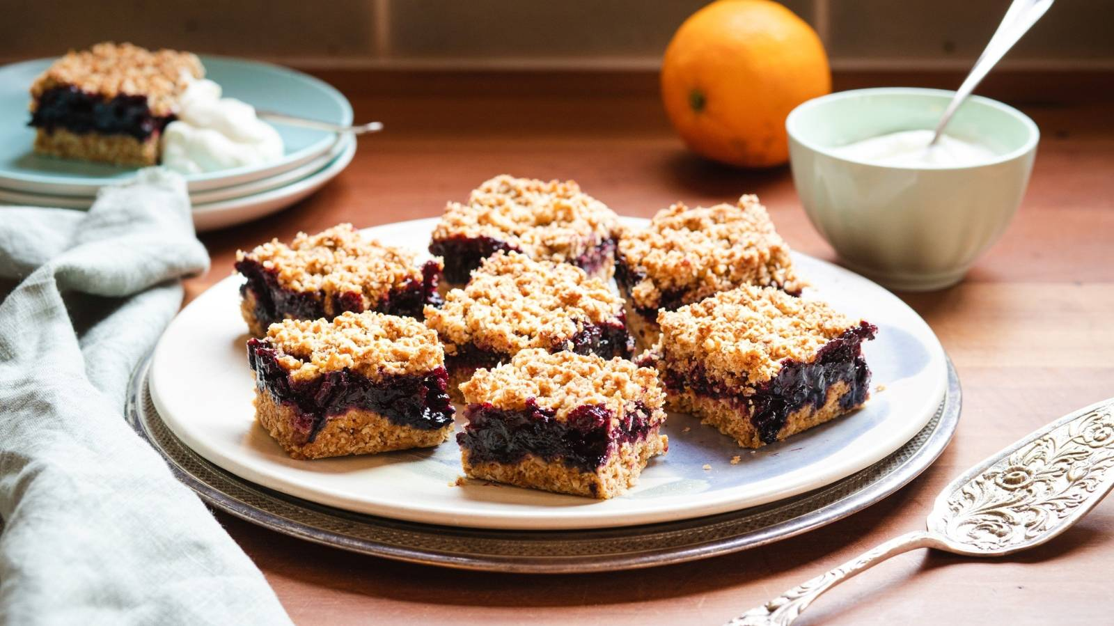How to make delightful blueberry & blackcurrant crumble slice