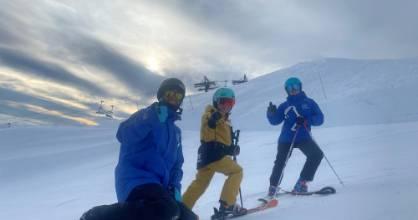 Lochie Win on Tūroa with Tūroa snowboard instructor Damian Barnard and Whakapapa ski instructor Jess Nielsen. His ...
