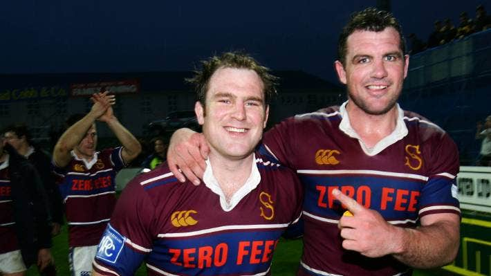 Then Southland Stags captain Clarke Dermody celebrates with Paul Miller after beating Otago in 2007. [File photo].