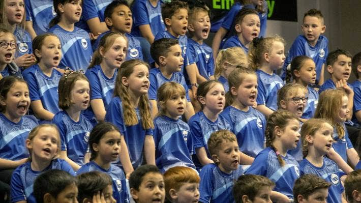 Pupils perform at a New Zealand Choral Federation event.