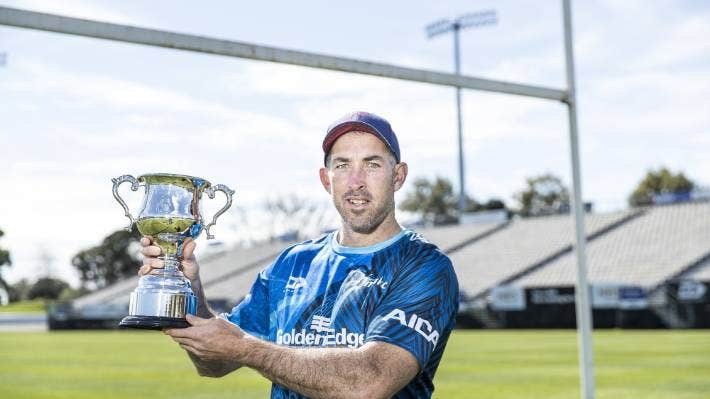 Tasman Mako coach Andrew Goodman with the new Clarke Dermody Cup at Trafalgar Park, Nelson, which will be played for whenever Tasman and the Southland Stags meet in a first-class rugby fixture.