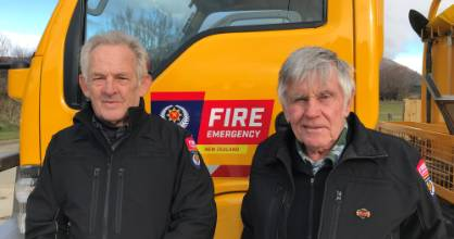 Northern Southland volunteer firemen Winston Soper, left, 73, and Peter Naylor, 80, work in support roles for the Athol ...