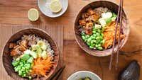 Teriyaki tofu rice bowls with soy lime dressing