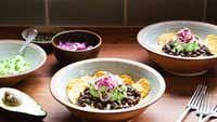 Chilli bean & guacamole nacho bowls