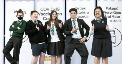 Taita College students were proud to get vaccinated, to protect their whānau and wider community. (Pictured left to ...