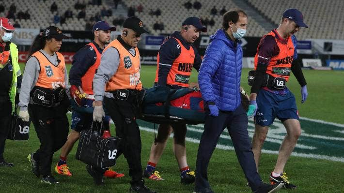 Tasman prop Ryan Coxon is carried from the field after injuring his ankle against Waikato in Nelson on Friday.