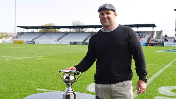 Clarke Dermody poses with the Clarke Dermody Cup which was up for grabs for the first time between Tasman and Southland.