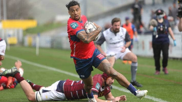 Regan Ware goes in for the last of Tasman's seven tries in their big win over Southland in Blenheim.
