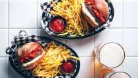 Beef, Roast Capsicums & Whipped Gorgonzola Burger