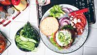 Greek Lamb Feta Burger with Shaved Baby Cucumber & Dill Yoghurt Sauce